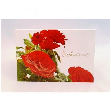 """Atvirukas 30021 """"Trys raudonos rožės - Sveikinimai"""""""