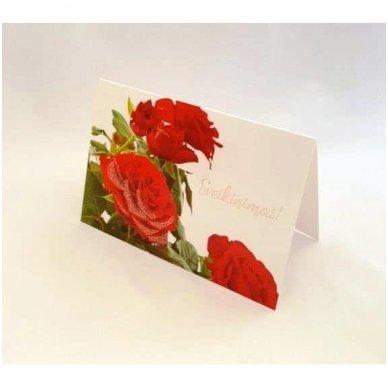 """Atvirukas 30021 """"Trys raudonos rožės - Sveikinimai"""" 4"""