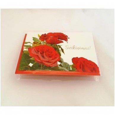 """Atvirukas 30021 """"Trys raudonos rožės - Sveikinimai"""" 2"""