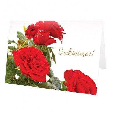 """Atvirukas 30021 """"Trys raudonos rožės - Sveikinimai"""" 5"""