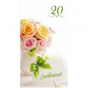 """Sveikinimo atvirukas 310  """"20 metų Sveikinimai"""""""