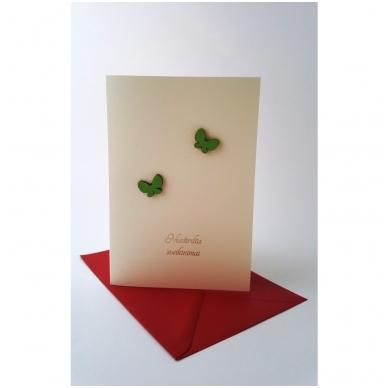 """Sveikinimo atvirukas 320 """"Žali drugeliai"""" 5"""