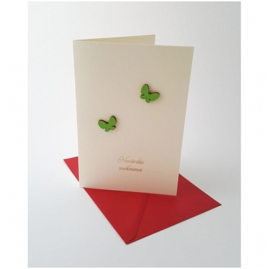 """Sveikinimo atvirukas 320 """"Žali drugeliai"""""""