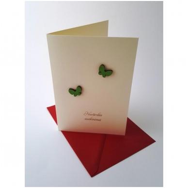 """Sveikinimo atvirukas 320 """"Žali drugeliai"""" 2"""