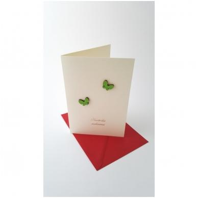 """Sveikinimo atvirukas 320 """"Žali drugeliai"""" 3"""