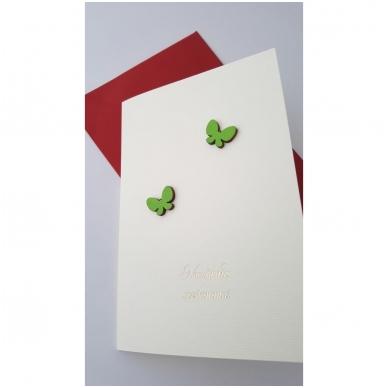 """Sveikinimo atvirukas 320 """"Žali drugeliai"""" 4"""