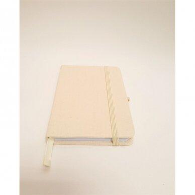 Užrašų knygelė drobiniais viršeliais su gumele 2
