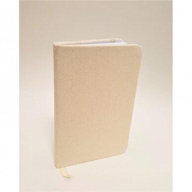 Užrašų knygelė drobiniais viršeliais su gumele